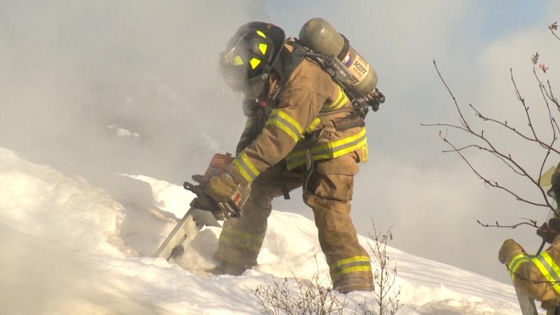 Firefighter in winter