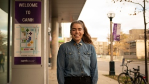 Jennifer Crawford  stands outside the Centre for Addiction and Mental Health (CAMH) in 2019. (Provided by CAMH)