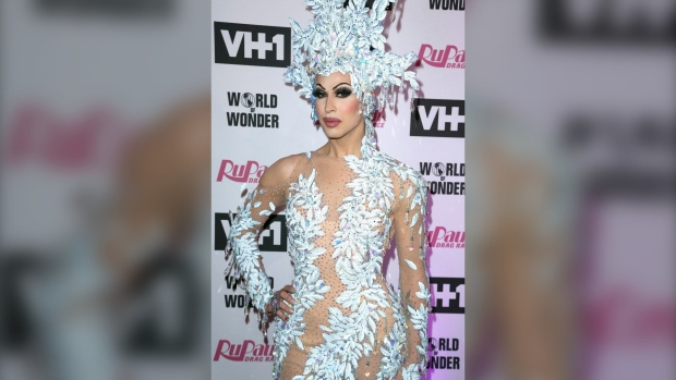 """Brooke Lynn Hytes arrives at the Red Carpet for """"RuPaul's Drag Race"""" Season 11 at The Orpheum Theatre on Monday, May 13, 2019, in Los Angeles.  (THE CANADIAN PRESS/AP, Willy Sanjuan/Invision)"""