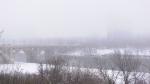 Fog covered the Broadway Bridge on Wednesday morning. (Chad Hills/CTV News)