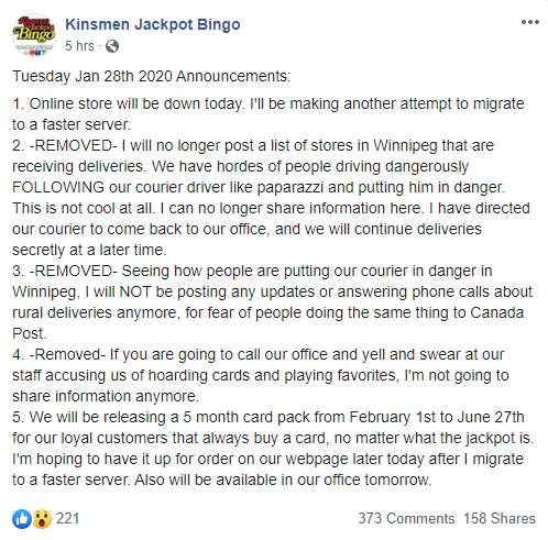 Kinsmen Jackpot Bingo Card Deliveries Being Done In Secret Due To