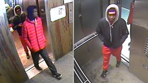 The suspects allegedly lured the man to a stairwell of the building, attacked him and stole his cell phone.