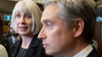 Foreign Affairs Minister Francois-Philippe Champagne looks on as Minister of Health Patty Hajdu responds to a question as they speak with the media about coronavirus, Wednesday, January 29, 2020 in Ottawa. THE CANADIAN PRESS/Adrian Wyld
