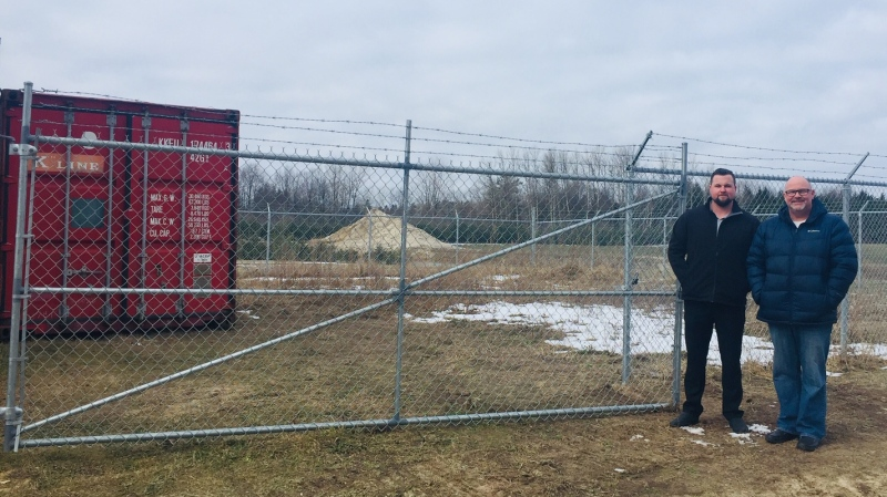 Mason Obrien and Andy Fleming, owners of Smooth Clover Ltd., stand outside their new micro-cultivation site in Elgin County, Ont. on Wednesday, Jan. 29, 2020. (Reta ismail / CTV London)