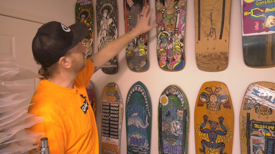 Eric Pinto of Qualicum Beach believes he might have the world's largest collection of privately-owned, completed skateboards, with approximately 400: Jan. 29, 2020 (CTV News)