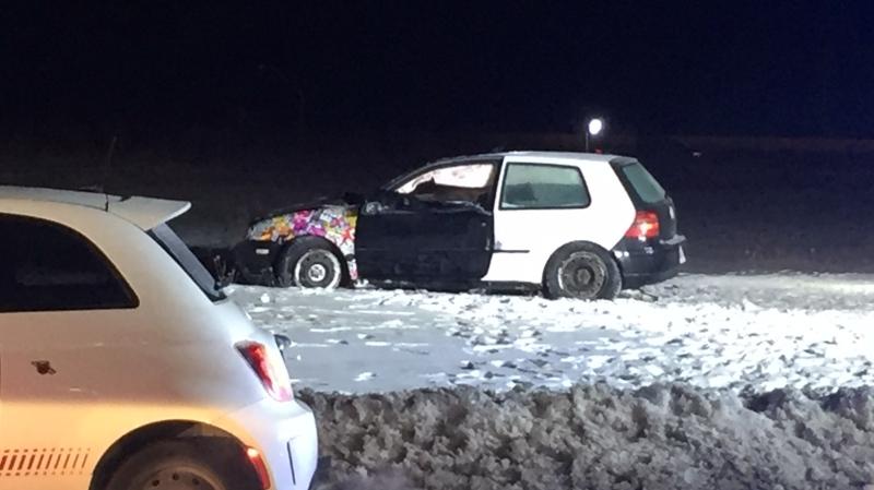 Barrie police on scene of crash that killed 17-year-old girl Wednesday, January 29th, 2020 (Steve Mansbridge / CTV News)