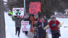 Indigenous protest against a plan to bury Nuclear Waste near Lake Huron on their territory. (Scott Miller / CTV London)