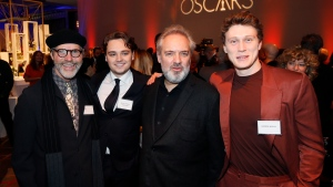 Dennis Gassner, from left, Dean-Charles Chapman, Sam Mendes and George MacKay attend the 92nd Academy Awards Nominees Luncheon at the Loews Hotel on Monday, Jan. 27, 2020, in Los Angeles. (Photo by Danny Moloshok/Invision/AP)