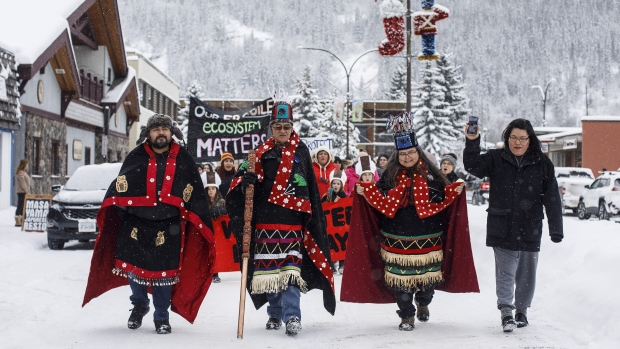 Wet'suwet'en Hereditary Chiefs from left, Rob Alfred, John Ridsdale, centre and Antoinette Austin, who oppose the Coastal Gaslink pipeline take part in a rally in Smithers B.C., on Friday January 10, 2020. THE CANADIAN PRESS/Jason Franson