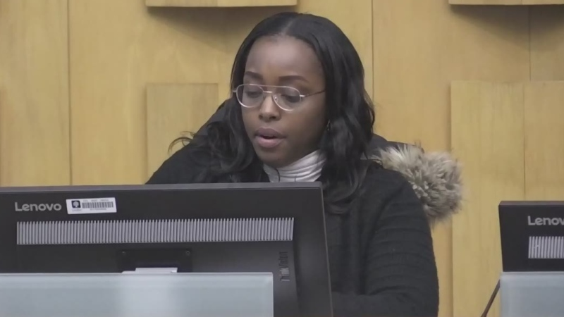 City Councillor Arielle Kayabaga speaks during budget discussions at city hall in London, Ont. on Thursday, Jan. 30, 2020. (Daryl Newcombe / CTV London)