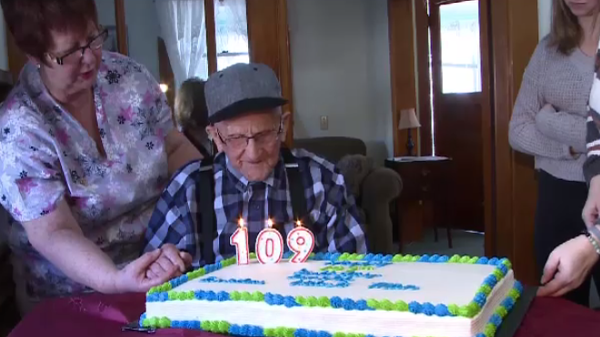 New Brunswick's Arnold Hawkins, believed to be Canada's oldest man, celebrated his 109th birthday on Jan. 30, 2020.