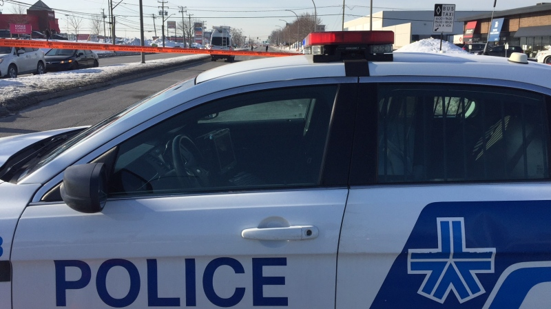 Montreal police are at the scene of the collision on Cote-Vertu Blvd. (photo: Rob Lurie / CTV News Montreal)