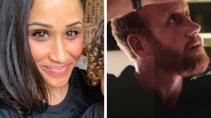 Photos of a Welsh man and an American woman who bear a resemblance to the Duke and Duchess of Sussex have gone viral. (Instagram/greyson_land/RatedPeople/Simon Pengelly)