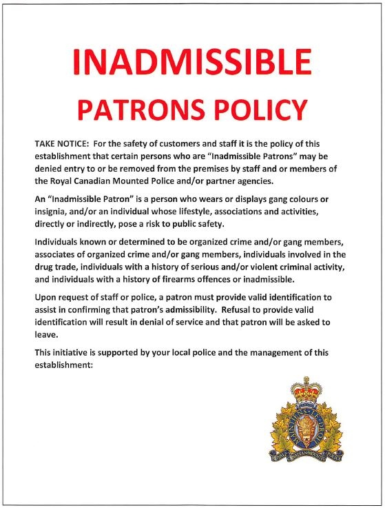 An example of what the West Shore RCMP's Inadmissible Patrons Police sign could look like: (West Shore RCMP)