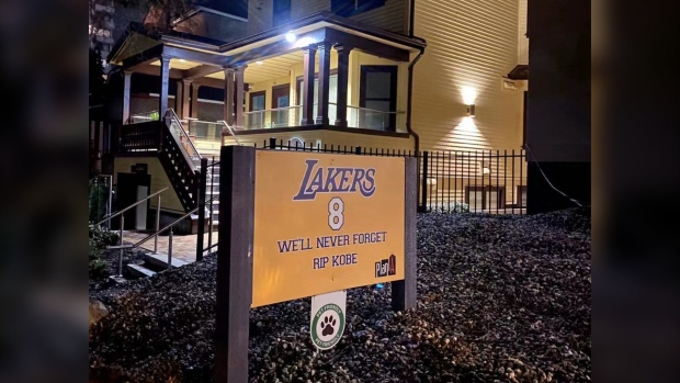 Anoop Majithia, owner of Plan A Real Estate Services, Ltd., commissioned several signs honouring Kobe Bryant, which he placed outside his West End buildings this week. (Anoop Majithia)