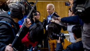 Democratic presidential candidate former Vice President Joe Biden speaks to members of the media at a campaign stop at the Mount Pleasant Lodge, Friday, Jan. 31, 2020, in Mount Pleasant, Iowa. (AP Photo/Andrew Harnik)