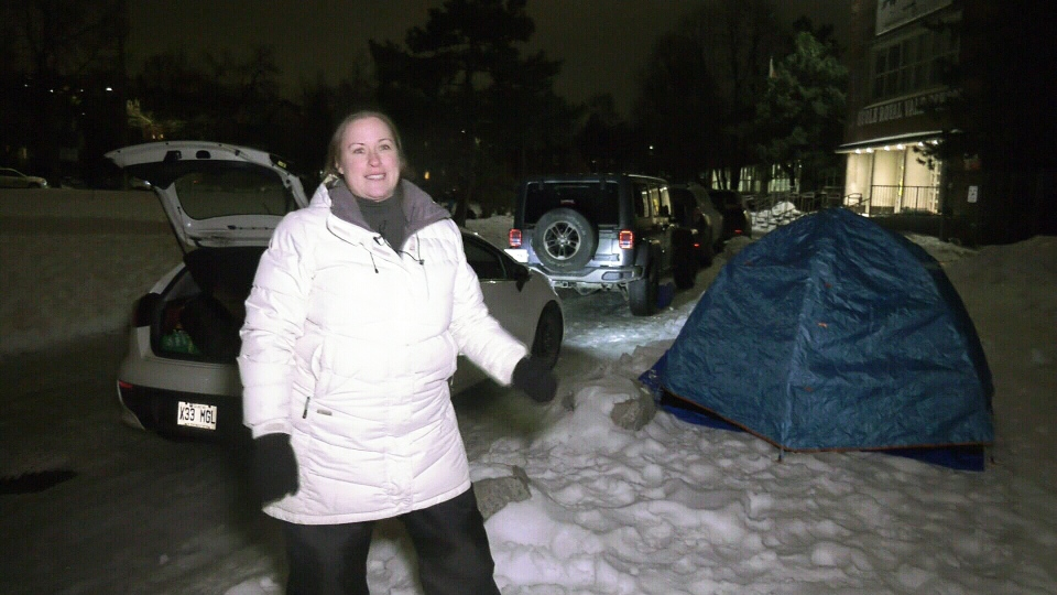 Shannon Gendron will be sleeping in the cold this weekend to enroll her five-year-old son in Royal Vale School in NDG.