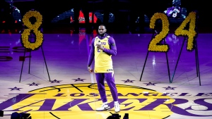 Los Angeles Lakers' LeBron James, wearing a No. 24 jersey, speaks about Kobe Bryant prior to an NBA game between the Lakers and the Portland Trail Blazers on Friday, Jan. 31, 2020,  (AP Photo/Ringo H.W. Chiu)