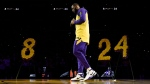 Los Angeles Lakers forward LeBron James looks down while speaking to the crowd about Kobe Bryant, prior to the team's NBA basketball game against the Portland Trail Blazers in Los Angeles, Friday, Jan. 31, 2020. (AP / Kelvin Kuo)