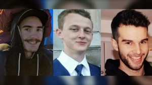 Cory Mills, Eric Blackmore and AJ Jensen, a trio of 20-year-old friends, were killed when their pickup truck was swept away by the Sooke River in February 2020.