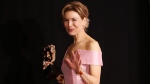 Renee Zellweger winner of Best Actress for Judy, backstage at the Bafta Film Awards, in central London, Sunday, Feb. 2, 2020. (Photo by Joel C Ryan/Invision/AP)