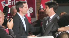Ontario Premier Dalton McGuinty congratulates Dr. Eric Hoskins, the new Liberal MPP-elect for St. Paul's, on Thursday, Sept. 17, 2009.
