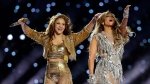 Jennifer Lopez, left, and Shakira perform during halftime of the NFL Super Bowl 54 football game between the San Francisco 49ers and the Kansas City Chiefs Sunday, Feb. 2, 2020, in Miami Gardens, Fla. (AP / John Bazemore)