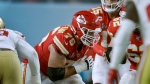 Kansas City Chiefs offensive guard Laurent Duvernay-Tardif, center, blocks against the San Francisco 49ers during the first half of the NFL Super Bowl 54 football game Sunday, Feb. 2, 2020, in Miami Gardens, Fla. (AP Photo/John Bazemore)