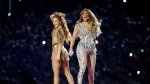 Shakira, left, and Jennifer Lopez perform during halftime of the NFL Super Bowl 54 football game between the Kansas City Chiefs and the San Francisco 49ers Sunday, Feb. 2, 2020, in Miami Gardens, Fla. (AP Photo/Patrick Semansky)