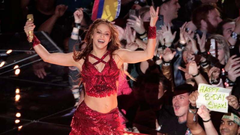 Singer Shakira performs, during the halftime show at the NFL Super Bowl 54 football game between the San Francisco 49ers and Kansas City Chiefs', Sunday, Feb. 2, 2020, in Miami Gardens, Fla. (AP Photo/Charlie Riedel)