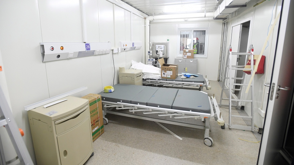 A patient room is seen at the Huoshenshan temporary field hospital in Wuhan in central China's Hubei Province, Sunday, Feb. 2, 2020. (Chinatopix via AP)