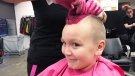 A Hair Massacure participant gets a dye job in Edmonton on Feb. 3, 2020. (Matt Marshall/CTV News Edmonton)