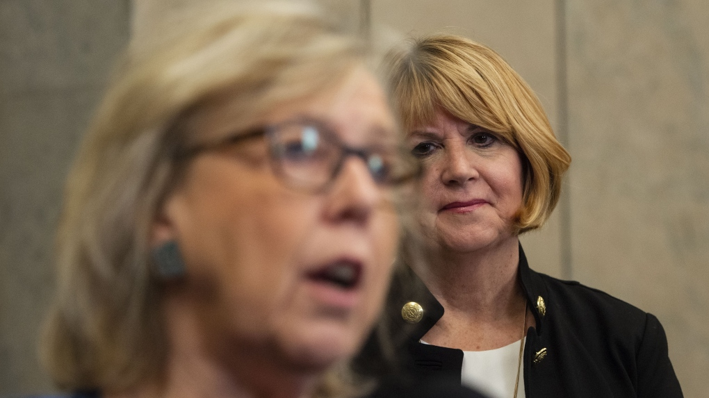 Elizabeth May, left, and Jo-Ann Roberts