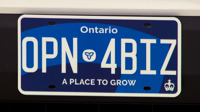 Ontario's new licence plates feature a dark blue theme with a new slogan and redesigned trillium logo. (CTV News Toronto)