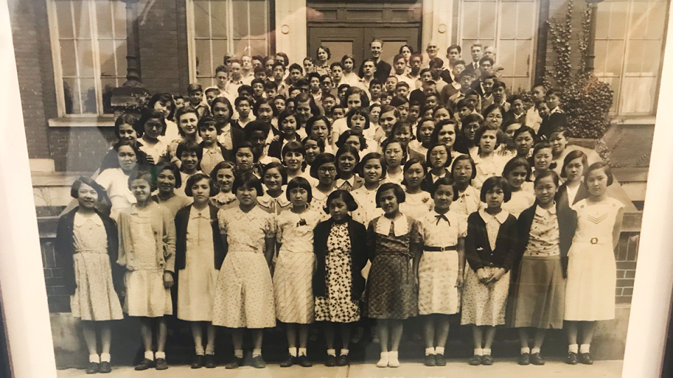 Strathcona Elementary's graduating class of 1933 is shown.