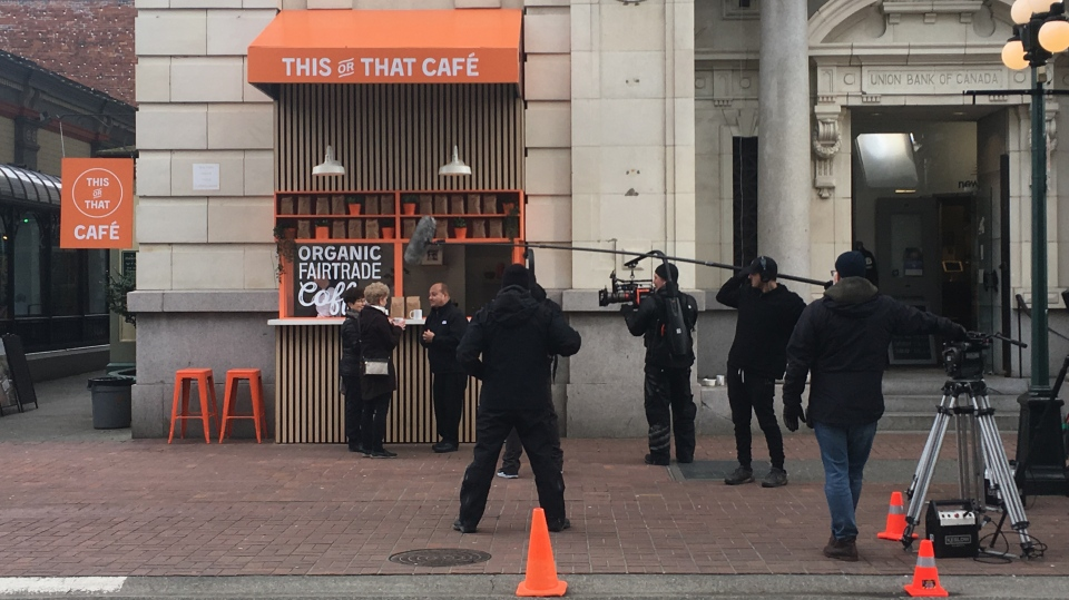 A film crew shoots an A&W commercial in downtown Victoria on Monday, Feb. 3, 2020. (CTV News)