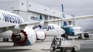 Grounded WestJet Boeing 737 Max aircraft are shown at the airline's facilities in Calgary, Alta., Tuesday, May 7, 2019. THE CANADIAN PRESS/Jeff McIntosh