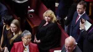 Senator Lynn Beyak waits for the Throne Speech in the Senate chamber in Ottawa, Thursday, Dec. 5, 2019. T THE CANADIAN PRESS/Chris Wattie