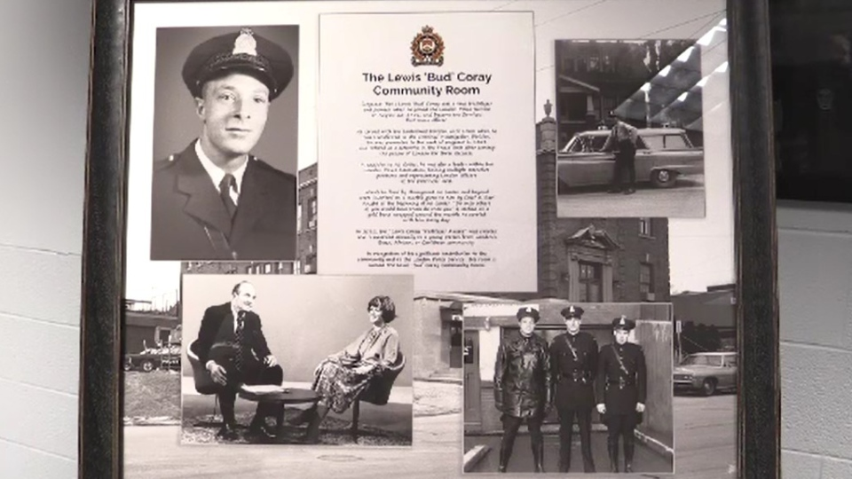 The Lewis 'Bud' Coray Community Room at police headquarters in London, Ont. was dedicated on Tuesday, Feb. 4, 2020. (Gerry Dewan / CTV London)