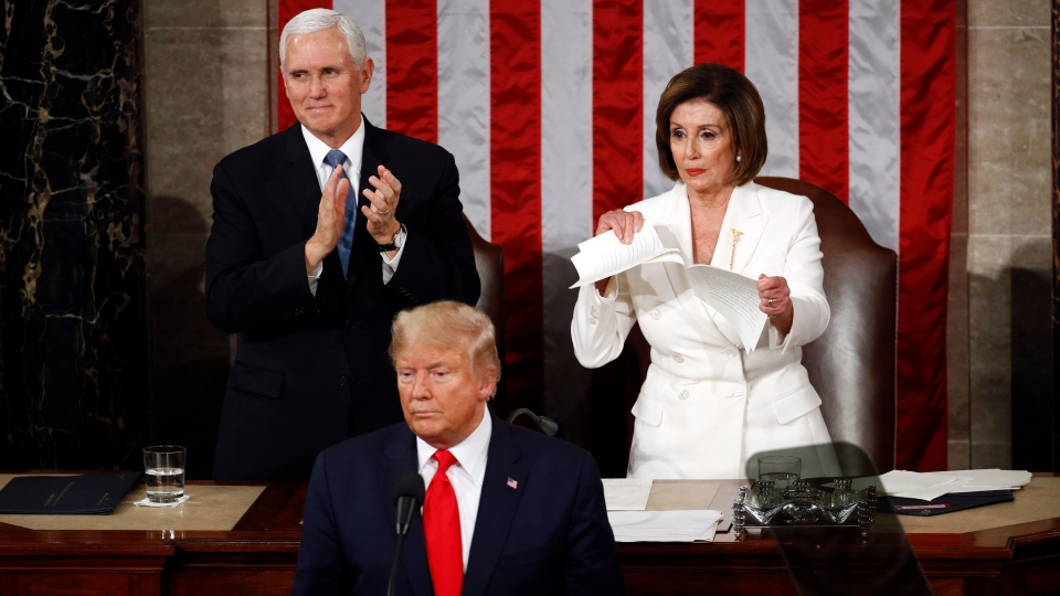 Pelosi rips up Trump speech