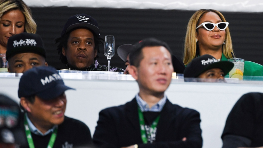 Jay-Z and Beyonce watch Super Bowl LIV
