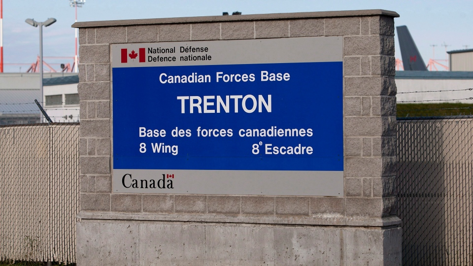 A sign for 8 Wing CFB Trenton is seen on Saturday, September 29, 2012. THE CANADIAN PRESS/Lars Hagberg
