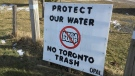 A sign opposing a planned landfill in Zorra Township is seen in Oxford County, Ont. on Wednesday, Feb. 5, 2020. (Bryan Bicknell / CTV London)