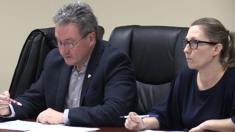Peter Bergmanis of the Ontario Health Coalition, left, and personal support worker Shoshannah Bourgeois speak in London, Ont. on Wednesday, Feb. 5, 2020. (Celine Zadorsky / CTV London)
