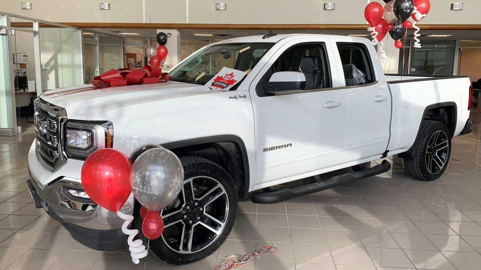 The last pickup truck to roll off the Oshawa GM assembly was raffled of for the Durham Children's Aid Foundation. (Mike Walker/CTV News Toronto)