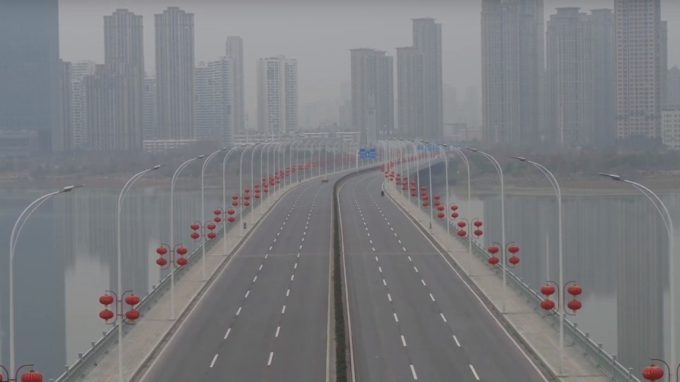 This still image, taken from drone footage recorded by a journalist working with ChinaFile, shows Wuhan in central China under lockdown after authorities ordered an unprecedented quarantine of 11 million people there on Jan. 23, in an effort to contain the deadly coronavirus outbreak.   (ChinaFile via Storyful)
