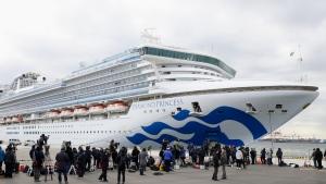 The cruise ship Diamond Princess is anchored at Yokohama Port for supplies replenished in Yokohama, south of Tokyo, Thursday, Feb. 6, 2020. (Hiroki Yamauchi/Kyodo News via AP)