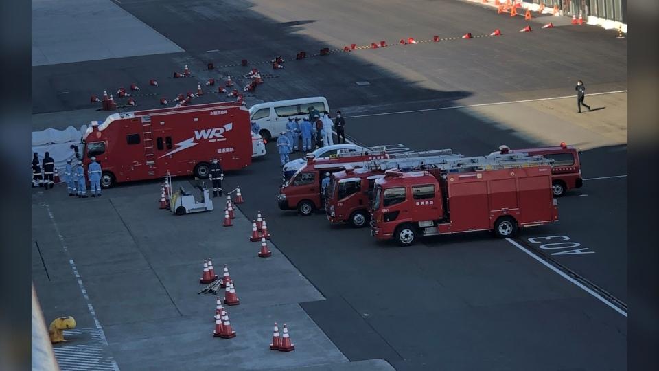 Emergency crews at the dock in Yokohama