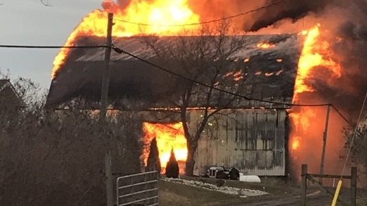 Flames consume a barn in Haldimand County, Ont. on Wednesday, Feb. 5, 2020. (Source: OPP)