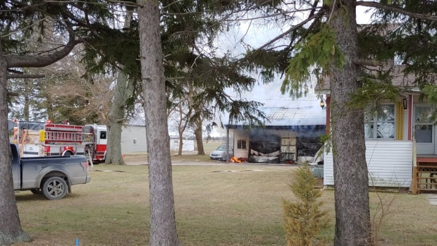 OPP and Leamington firefighters were called to the fire the 500 block of Mersea Road 8 in Leamington, Ont., on Jan. 29, 2020. (Courtesy Andrew Baird / Twitter)